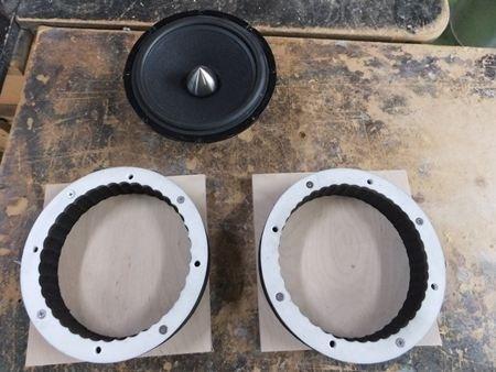 VWシロッコ ドアスピーカーのインナーバッフルを人工大理石とバーチ材