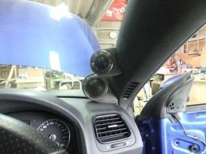 VWシロッコ ツィーターとミッドレンジにエクセーヌで生地を貼りAピラーへ取り付け